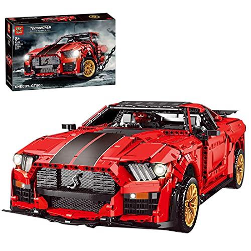 Myste Technik Sportwagen für Ford Mustang Shelby, GT500 Rot Supercar mit Goldenen Felgen, Rennwagen Rennauto Bausteine, 3386+Klemmbausteine Bausatz Kompatibel mit Lego Technic