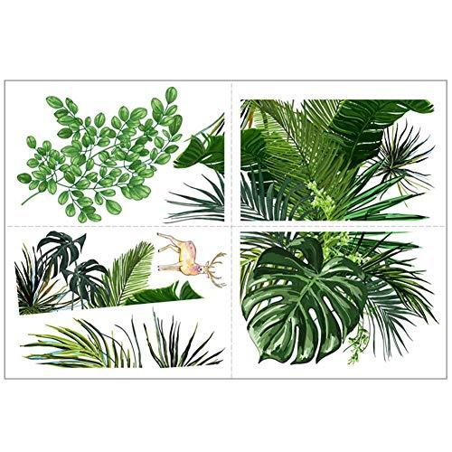 Haucy Graz Design - Adhesivo decorativo para pared, diseño de plantas verdes, 30 x 45 x 0,3 cm
