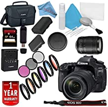 Canon EOS 80D DSLR Camera 18-135mm Lens USA Model Warranty Base Bundle