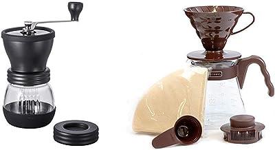 HARIO (ハリオ) 手挽き コーヒーミル セラミック スケルトン ブラック MSCS-2B & (ハリオ) コーヒーサーバー V60 02セット コーヒードリップ 1~4杯用 ブラウン VCSD-02CBR【セット買い】