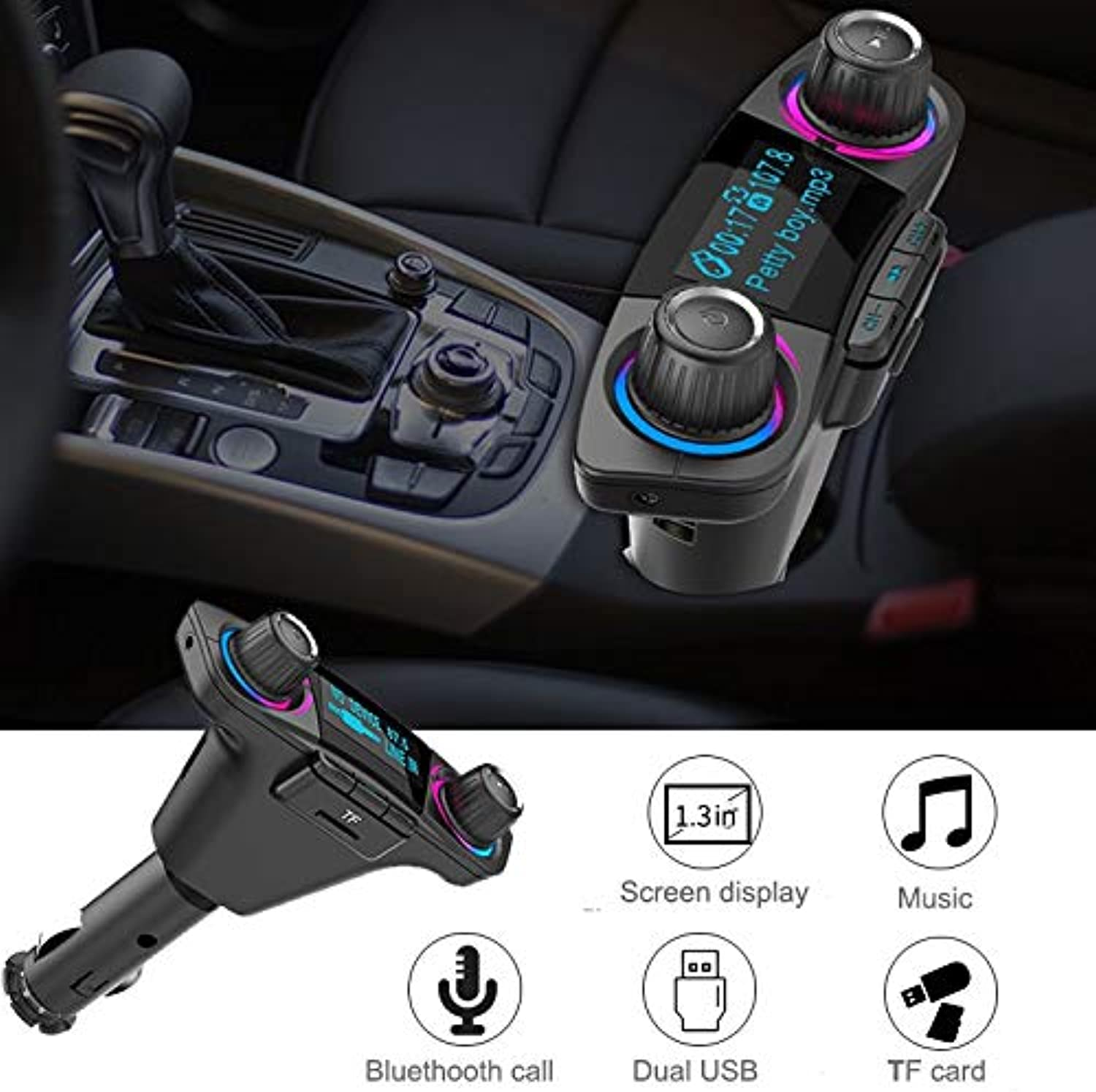Car Audio blueeetooth MP3 Player Dual USB FM Modulator Transmitter Music LED Display Wireless Phone Handsfree Charger Stereo Auto