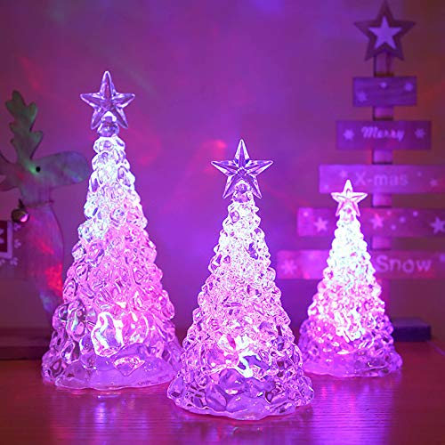 Tabletop LED Christmas Trees,Color Changing LED Acrylic Holiday Christmas Tree, Battery Operated and Portable for Dining Table Centerpieces Decorations, Home and Office Accent (3-Piece Set)