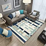 Abstracto Moderna Alfombra,Geométricos Patrón Alfombras Azul Gris Salas De Estar Dormitorio Comedor-41 140 * 200 cm