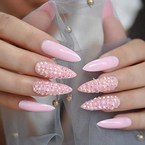 CLOAAE Long pink rhinestone 3D fake nail tips sparkling fine high-heeled shiny full-cover fake nails gorgeous long-pointed nail tips