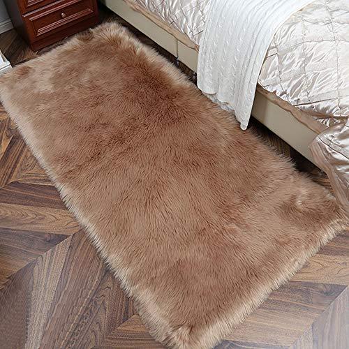 Cumay Faux Lammfell Schaffell Teppich (60 x 90 cm) - Geeignet für Wohnzimmer Teppiche Flauschig Lange Haare Fell Optik Gemütliches Schaffell Bettvorleger Sofa Matte (Braun, 60 x 90 cm)