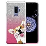 FINCIBO Case Compatible with Samsung Galaxy S9 PLUS 6.2 inch, Shiny Silver Pink Gradient 2 Tone Glitter TPU Protector Cover Case For Galaxy S9 PLUS (NOT FIT S9) - Red Pembroke Welsh Corgi Look For You