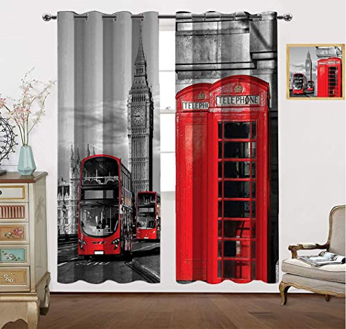 """Amazing London Decor Curtains, London Telephone Booth in The Street Traditional Local Cultural Icon UK Retro Print Blackout Curtain for Bedroom, 63"""" W x 72"""" L Red Grey"""