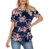 LRWEY Camiseta de verano de manga corta con tirantes y hombros descubiertos para mujer