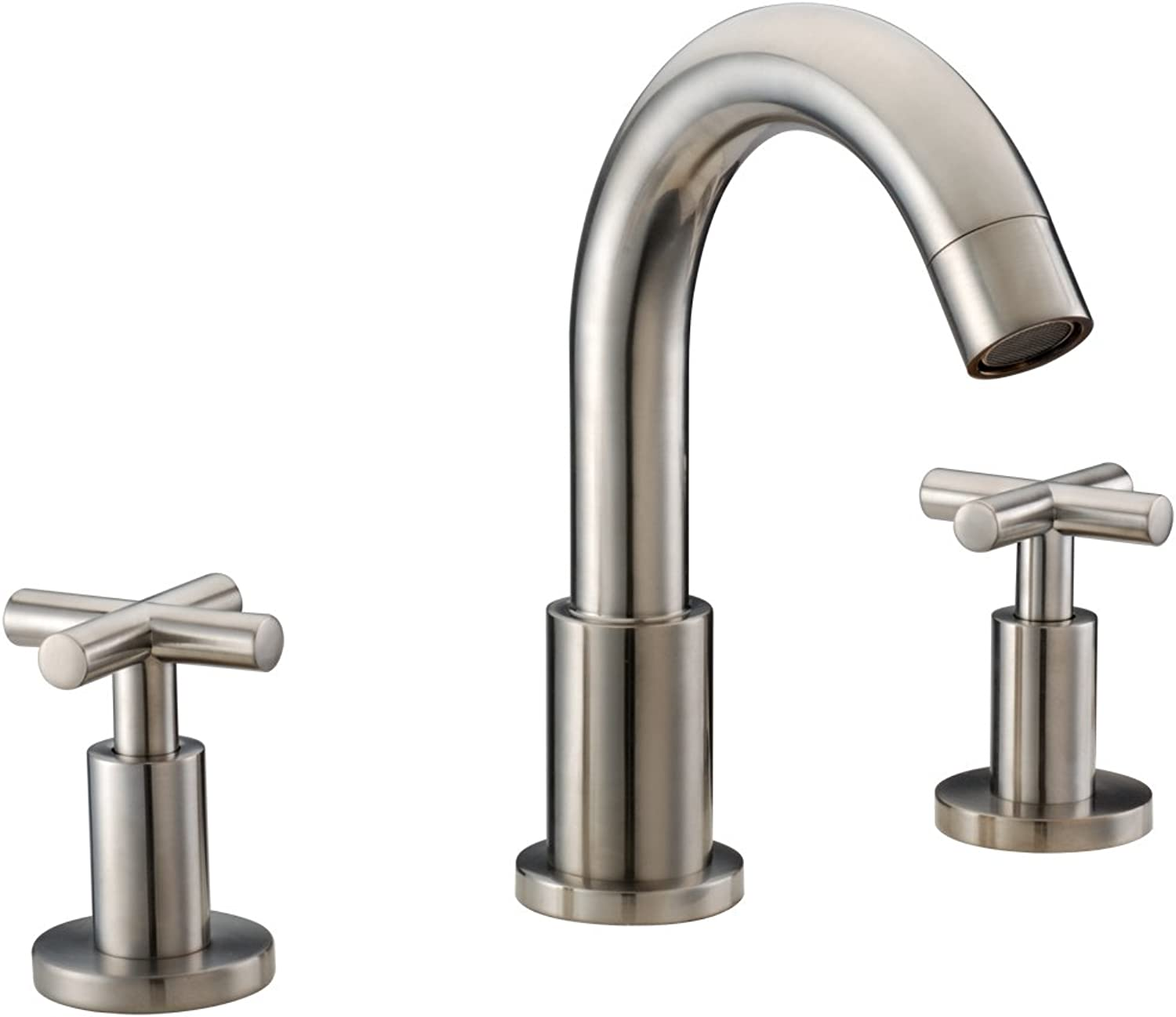 Dawn AB03 1513BN 3-Hole Widespread Lavatory Faucet with Cross Handles for 8  Centers, Brushed Nickel