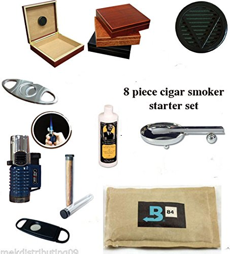 20 Count Cigars Black Finish Humidor Cutters Lighter Ashtray Cigar Caddy Gift Set & Seasoning Kit