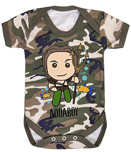 Colour Fashion Aquaboy Superhéros Imprimé Bodys Bébé Costume Hypoallergénique 100% Coton - Camouflage, 6-12 Months