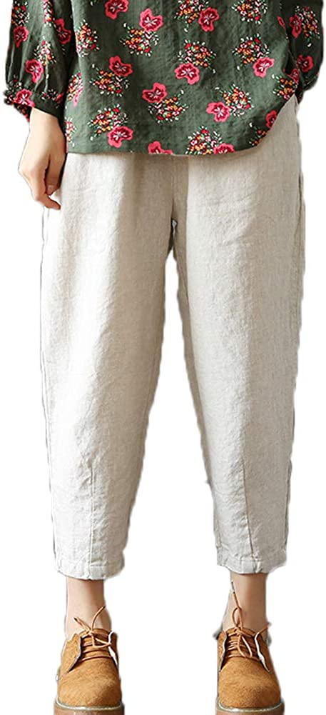 LaovanIn Women's Linen Cropped Pants Tapered Ankle Capris Trousers Elastic Waist