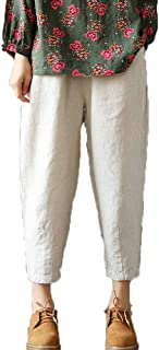 Women's Linen Cropped Pants Tapered Ankle Capris Trousers Elastic Waist