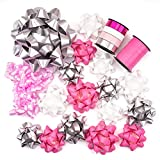 WRAPAHOLIC 19 Pcs Gift Bows Assortment - 16 Multi Colored Assorted Size Gift Bows(Pink, White,...