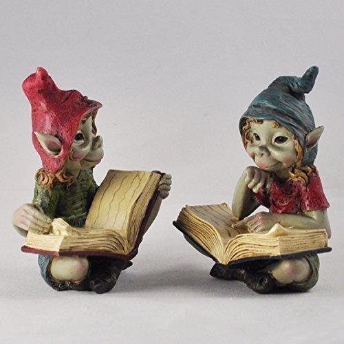 Pixies lectura Juego de 2figuras de decoración de la escultura de jardín...