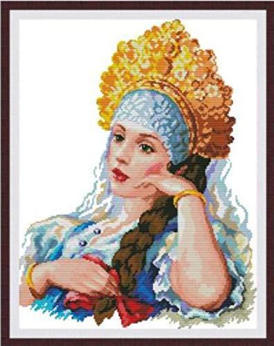 Stickset Stickbilder Kreuzstich Vorgedruckt-Kronfrau-40X50Cm Sticken Stickerei stickgarn Neujahrs Home Decor Kreativität Geschenke (11CT Vorgedruckte Leinwand)