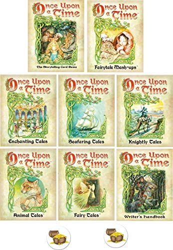 Once Upon A Time Card Game Bundle with Base Game and 7 Expansions Plus 2 Treasure Chest Buttons