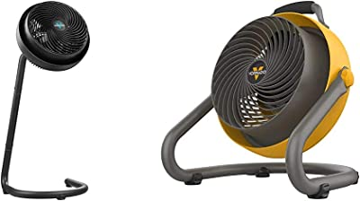 Vornado 783 Full-Size Whole Room Air Circulator Fan with Adjustable Height & 293 Large Heavy Duty Air Circulator Shop Fan, Yellow
