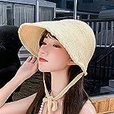 ZHEMAIDZ Sombrero para el Sol Sombrero de Paja para Mujer, Sombrero de Bruja, Tejido, Visera de Sol, protección UV, Colección de Verano 2021 (Couleur : 3, Taille : Adult (54 60) cm)