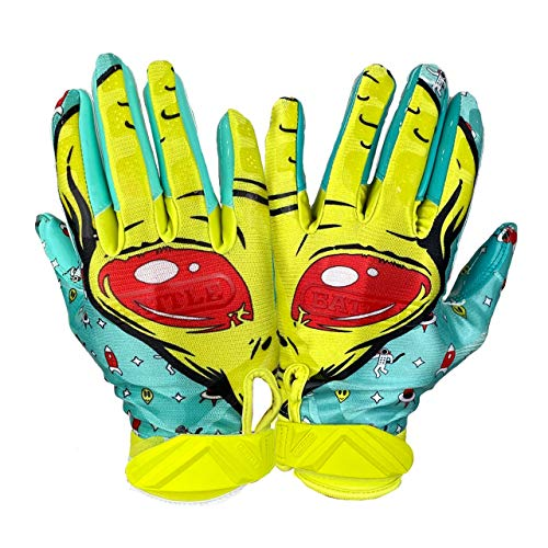 Battle Double Threat Football Gloves – Ultra-Tack Sticky Palm Receivers Gloves – Pro-Style Receiver Gloves, Adult and Youth (Alien, M)