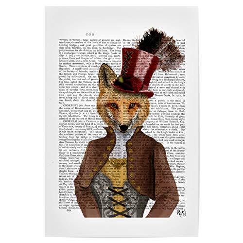 artboxONE Poster 30x20 cm Für Kinder Fürst Fuchs hochwertiger Design Kunstdruck - Bild Fuchs Hut Zylinder