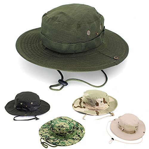 Bucket Hat Boonie Hunting Fishing Outdoor Men Cap Washed Cotton With Strings S1