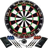 IgnatGames Professionelles Dartboard-Set - Borste/Sisal Turnier-Dartscheibe mit ultradünner Drahtspinne komplett ohne Klammern + 6 Steel Tip Darts + Darts-Maßband + Darts-Anleitung