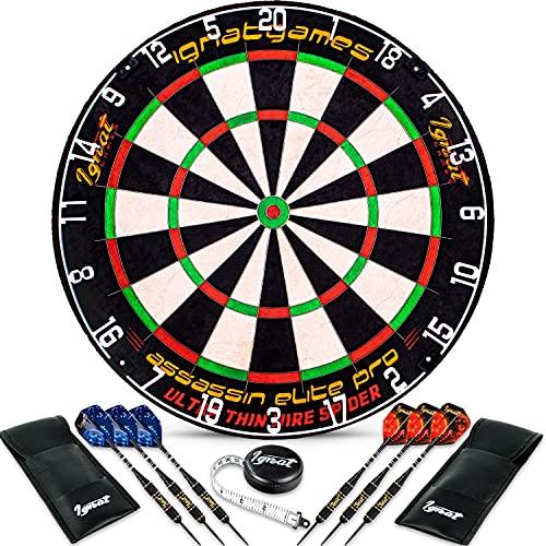 IgnatGames Professional Dart Board Set - Bristle/Sisal Tournament Dartboard with Completely Staple-Free Ultra-Thin Wire Spider + 6 Professional Steel Tip Darts + Darts Measuring Tape + Darts eBook