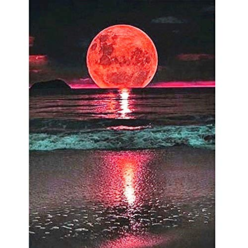 Diamond Painting Kits for Adults 14x18Inch Moon and Sea Full Diamond Embroidery Rhinestone Cross Stitch Arts Craft Supply for Home Decoration Village Farm