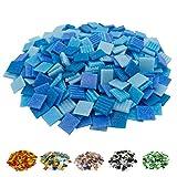 mosamare Piedras de mosaico para manualidades – Variantes de colores – (2 x 2 cm, 900 g, aprox. 340 unidades) – Mosaico de cristal – Sin embalaje de plástico – mezcla azul