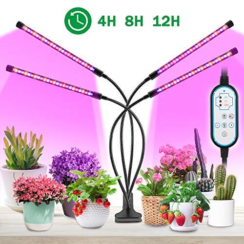 MOREASE Lampes de croissance et horticoles,4 Tube LED Éclairage pour plantes,3 Mode Lumière (Rouge, Bleu, Jaune),10 Modes de Luminosité,Chronométrage AUTO - ON/OFF