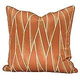 Cojín de cojín Patrones geométricos Caja de almohada de tiro suave Rayas de naranja Fundas de almohada con relleno Sofá Sala de estar Coche Accesorios decorativos Decoración de cama casera 45 x 45cm 4