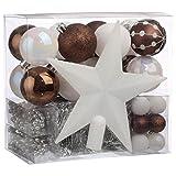 Lote decoración de Navidad - Kit 44 piezas para la decoración del árbol: Guirnaldas, Bolas y Estrella - Color: Blanco y Marrón chocolate