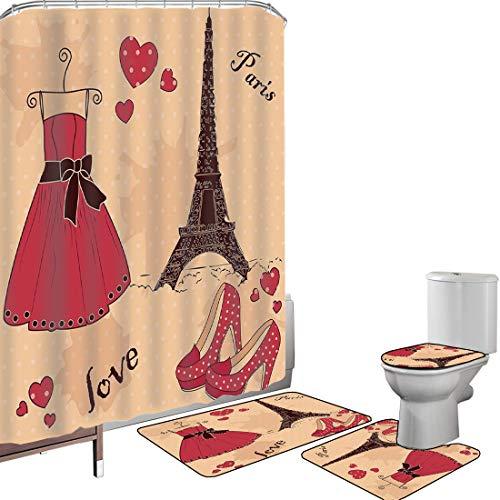 Juego de cortinas baño Accesorios baño alfombras Tacones y Vestidos Alfombrilla baño Alfombra contorno Cubierta del inodoro Paris Boutique zapatos de vestir retro francés Torre Eiffel decorativa,marró