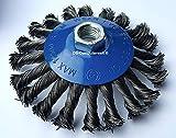 2 cepillos cónicos de acero trenzado para amoladora angular (115 mm de diámetro) M14