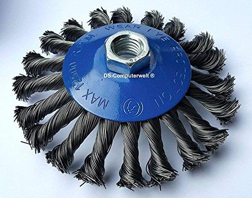 3 x Kegelbürste Stahl gezopfter Draht für Winkelschleifer (Ø 115 mm) M14