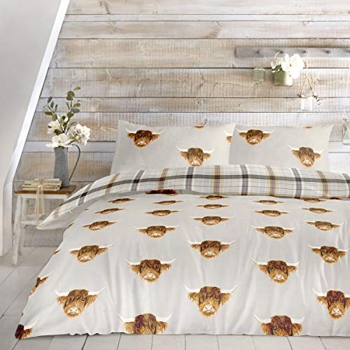 Fusion - Highland Cow - Easy Care Duvet Cover Set - King Bed Size in Ochre
