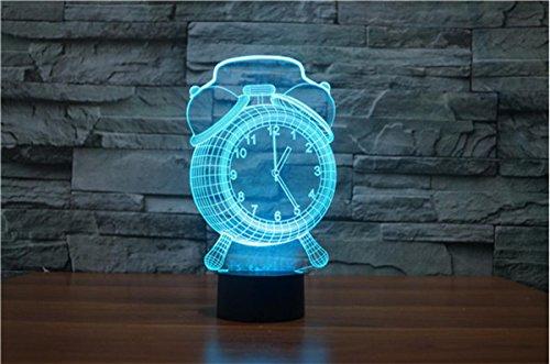 YQ Alarm clock Nouveau réveil 3D réveillon LED lumières lumière de Nuit visuelle 3D
