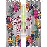 cortinas de ventana, Estilo Retro Thank You Note con Cerámica hecha como flores cerezas y hojas de impresión, 2 paneles de ancho 52 x largo 95 ventana tratamientos cortinas para dormitorio, multicolor
