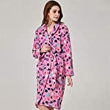 Crystallly Damas Gown Grande En El Patrón De Los Vidrios Rosa Estilo Simple Suave Pijama Inicio Recorrido De La Manera Pijamas Cómodos (Color : Rose, Size : L)