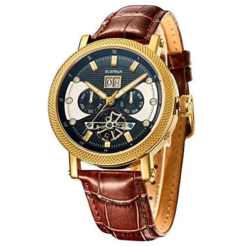 SURVAN WatchDesigner Reloj mecánico automático para Hombre Reloj de Pulsera Esqueleto Cristal de Zafiro Reloj Impermeable con Correa de Cuero Genuino (Dorado)