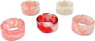 5 قطع الملونة الراتنج خواتم خمر بسيطة Y2k مجوهرات أنيقة ريترو المفاصل الإصبع تكديس مشترك الدائري للنساء الفتيات