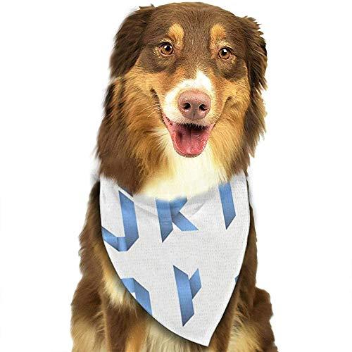 YAGEAD Pañuelo para Perros Cachorro y pañuelos para Mascotas, Letras espectrales dobladas de Cinta Alfabeto Romano Azul B C D E F G H I J K L M N O P Q R U V W X Y Z Bufanda para Mascotas
