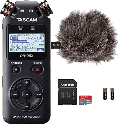 Tascam DR-05X Stereo Handheld Digital Audio Recorder & USB Interface Bundle with MovoDeadcat Windscreen and 32GB Micro SD Card (Latest Version)