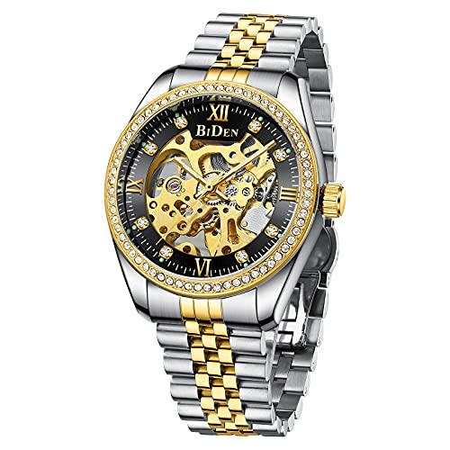 Relojes para hombre mecánicos de oro automático con correa de acero inoxidable con esqueleto automático para hombre, resistente al agua, reloj de lujo con esfera de diamante