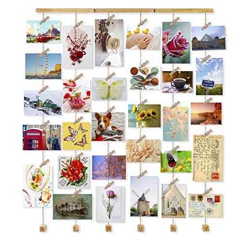 Love-KANKEI Wall Hanging Picture Photo Frames 26 by 29 Inch with 30 Wooden Clips - Wire Artworks Prints Cards Holder Organizer Collage Multi Picture Photo Display SHMILY Frame