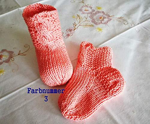 Babysocken aus Baumwolle Fußlänge 9,5 cm, Schafthöhe 5 cm, also passend bis zu ca 4 Monate, lachs