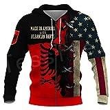 TN-KENSLY Bandera del país Símbolo de Albania Divertido Hombres/Mujeres Sudadera/Sudaderas con Capucha/Cremallera/Chaqueta Chándal con Estampado 3D Zip M