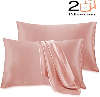 Leccod 2 Pack Silky Satin Pillowcase for Hair and Skin Cool Super Soft and Luxury Pillow Cases Covers with Envelope Closure (Coral Pink, Queen: 20x30)