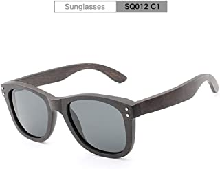 a978178b68 Rongjuyi Hombres Mujeres Hecho a Mano de Madera Color Espejo Lente Gafas de  Sol polarizadas Remache